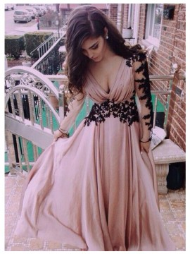 A-Line V-Neck Long Sleeves Backless Blush Prom Dress with Pleats Appliques