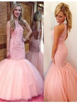 Mermaid Crew Sleeveless Court Train Open Back Pink Dress with Beading