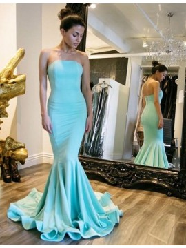 Mermaid Strapless Sleeveless Floor-Length Turquoise Prom Dress with Pleats