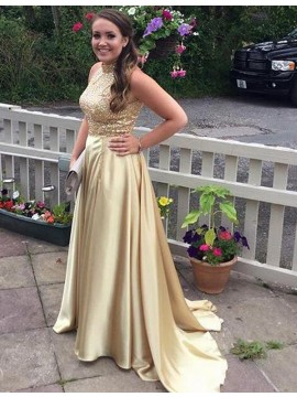 A-Line High Neck Sleeveless Sweep Train Gold Prom Dress with Sequins