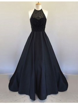 A-Line Halter Sleeveless Backless Long Black Prom Dress with Beading