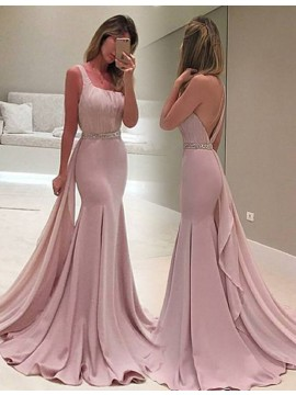 Mermaid One Shoulder Detachable Train Beaded Blush Prom Dress