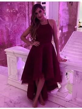 Modern Burgundy Halter Sleeveless High Low A-Line Prom Dress