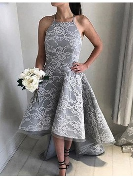 High Low Modern Grey Halter Sleeveless Lace  Prom Dress