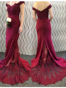 Decent Burgundy Off the Shoulder Sweep Train Mermaid Prom Dress with Lace Appliques
