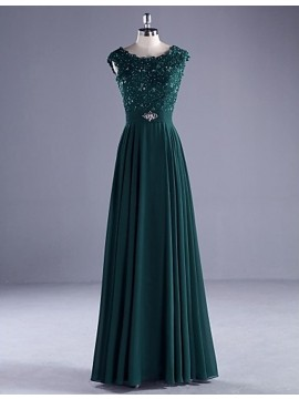 Honorable Hunter Crew Neck Sleeveless Floor Length Pleats Prom Dress with Beading Lace