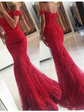 Elegant Red Off the Shoulder Short Sleeves Sweep Train Lace Mermaid Prom Dress with Beading