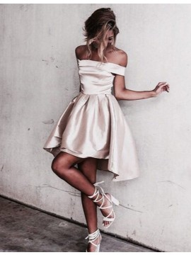 High Low Off-the-Shoulder Champagne Homecoming Dress with Pleats