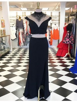Stunning Black High Neck Split Front Long Two Piece Prom Dress with Beading
