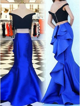 Two Piece Mermaid Off-the-Shoulder Short Sleeves Tiered Royal Blue Prom Dress