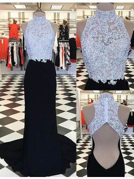 Charming Black High Neck Open Back Long Sheath Prom Dress with Appliques Beading