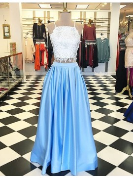 Two Piece Light Blue Square Prom Dress with Beading Lace