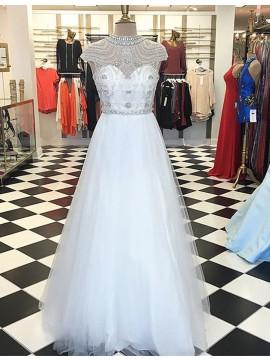 Generous White Crew Cap Sleeves Floor-Length Prom Dress with Beading Crystals