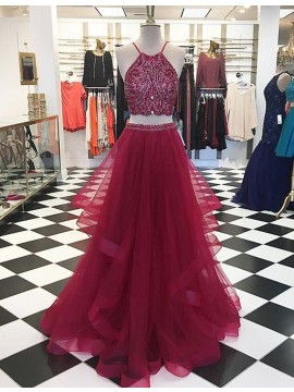 High Quality Burgundy Round Neck Asymmetrical Two Piece Prom Dress with Beading