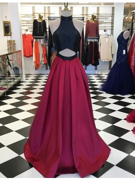 Honorable Burgundy High Neck Keyhole Floor-Length A-Line Prom Dress with Pleats