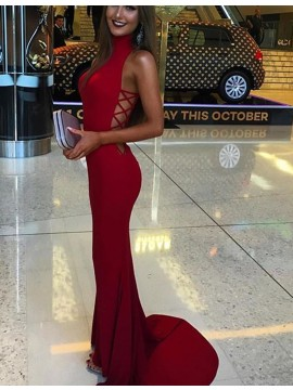 Simple Red High Neck Sleeveless Sweep Train Mermaid Prom Dress