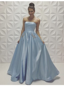Charming Light Blue Strapless Floor Length Prom Dress with Beading Pleats