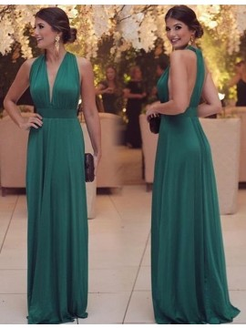 Sheath Elegant Deep V-Neck Sleeveless Prom Dress with Pleats