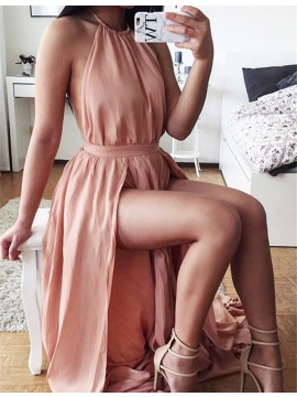 A-Line Halter Backless Split Simple Pink Prom Dress with Pleats