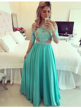 Charming Turquoise Crew Neck Long Sleeves Illusion Back Long Prom Dress with Appliques Pearls Sash