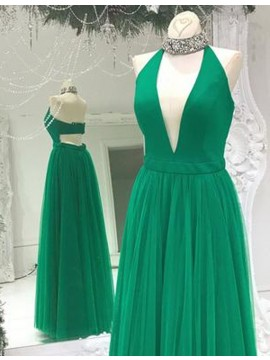 Charming Green Halter Sleeveless Floor Length Prom Dress with Pleats Beading