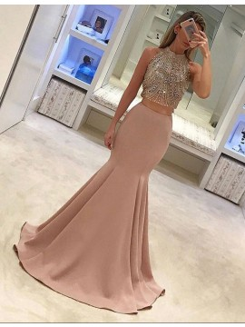 Magnetic Blush Round Neck Long Two Piece Mermaid Prom Dress with Beading Pleats
