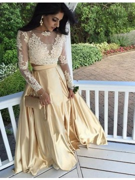 Modern Apricot Bateau Long Sleeves Two Piece Long Prom Dress with Appliques