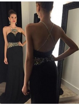 Glamorous Black Round Neck Criss-Cross Straps Floor Length Prom Dress with Beading