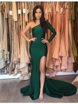 Mermaid Hunter One Shoulder Long Sleeves Split Prom Dress with Pleats