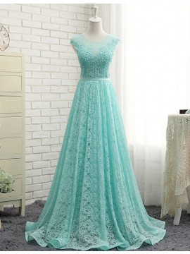 A-Line Mint Round Floor Length Lace Prom Dress with Appliques Beading