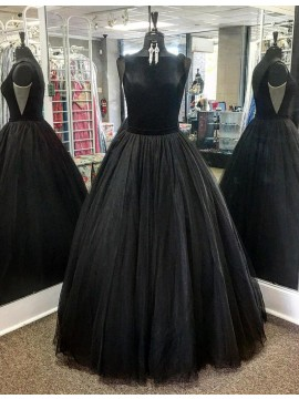 Simple Black Bateau Sleeveless Backless Floor Length Ball Gown Prom Dress with Pleats