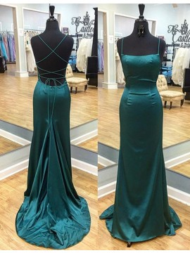 Decent Hunter Spaghetti Straps Sweep Train Criss-Cross Straps Sheath Prom Dress with Pleats