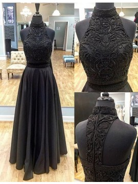 Charming Black High Neck Sleeveless Floor Length Prom Dress with Beading Pleats