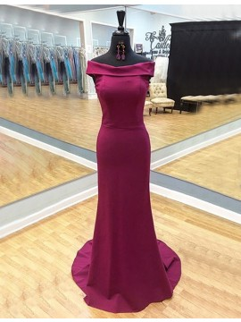 Mermaid Simple Fuchsia Off the Shoulder Sweep Train Prom Dress