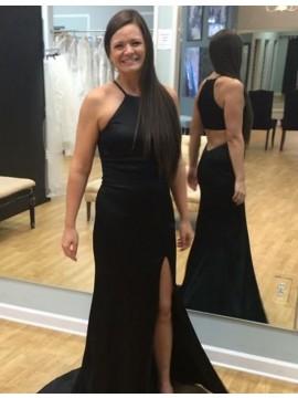 Sheath Round Neck Sweep Train Split Front Black Prom Dress