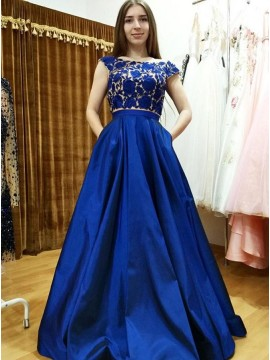 A-Line Royal Blue Satin Elegant Prom Dress with Appliques Pockets