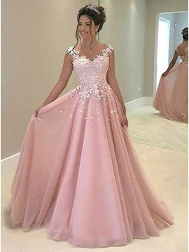 A-Line V-Neck Sleeveless Sweep Train Pink Prom Dress with Appliques