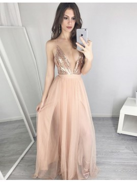 A-Line Deep V-Neck Pearl Pink Tulle Prom Dress with Sequins