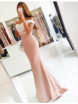 Mermaid Off-the-Shoulder Floor-Length Pink Prom Dress with Lace