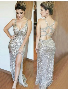 Sheath Deep V-Neck Open Back Silver Sequined Prom Dress with Split