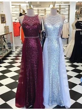 Glamorous Burgundy/Silver Crew Neck Illusion Back Sweep Train Prom Dress with Beading
