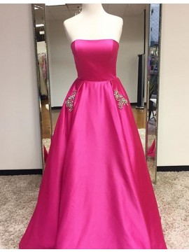 Fashion Fuchsia Strapless Sleeveless Floor Length Prom Dress with Beading Pockets