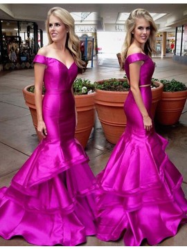 Mermaid Off-the-Shoulder Sweep Train Fuchsia Satin Tiered Prom Dress