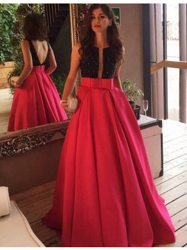 A-line Round Rose Pink Backless Prom Dress with Beading Bowknot