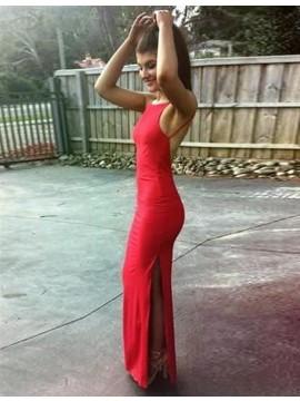 Sheath Round Neck Backless Slit Leg Simple Sexy Red Prom Dress