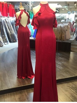 Elegant Red High Neck Sweep Train Sheath Backless Prom Dress with Ruffles