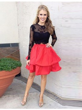 Modern Red Crew Neck Long Sleeves Tiered Short Prom Dress with Lace