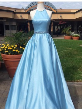 High Quality Light Blue Round Neck Floor Length Prom Dress with Beading