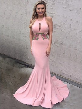 Mermaid Keyhole Open Back Long Pink Prom Dress