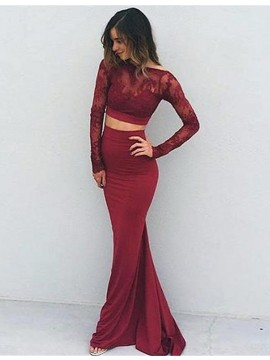 Two Piece Mermaid Long Sleeves Backless Burgundy Prom Dress with Lace